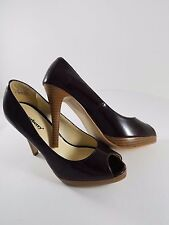 Jazzberry Keira Women's Dark Purple Patent Leather Peep Toe Heels Size 7.5