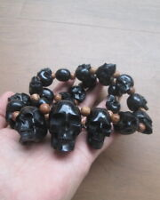Skull Necklace in Buffalo Horn w Silver Claps & Coconut Bead -- GREAT-- 01281117