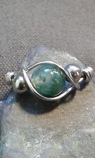 Handmade Natural Aquatic Agate Gemstone Silver Ring ANY SIZE