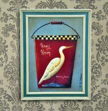 Home Decor Wall Painting Picture Canvas Wooden Frame Wall Art Wading Bird Design