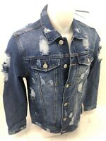 MENS VICTORIOUS DENIM Jacket BLUE INDIGO JEAN RIPPED DISTRESSED VINTAGE WASH 100