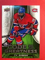 2015-16 Upper Deck Code To Greatness Insert #CTG-1 P.K. Subban Montreal