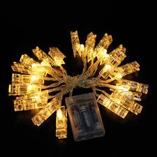 10/20 LED Photo Peg Clip LED Fairy String Light Wedding Hanging Picture Decor UK