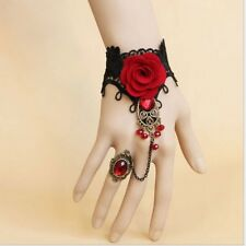 USA-Gothic Sexy Vintage Cameo Lace Flower Bracelet Bronze Chain Ring Wrist Cuffs