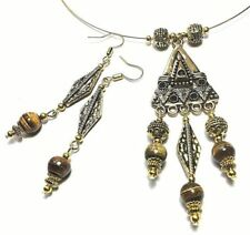 Gemstone Tigers Eye Beaded Costume Necklaces & Pendants