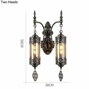 Mediterranean Style Double Heads Wall Lamp Lights Through-Carved Glass Wall Lamp