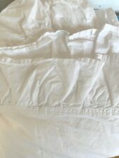Simply Shabby Chic Solid White Cotton Ruffle Flat Sheet Queen Great Condition