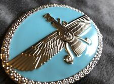 Iran Iranian Persian Farvahar belt buckle silver turquoise wing man unisex flag