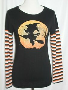 Disney Womens Junior Minnie Mouse Halloween shir Black Witch Layered Look Large