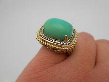Designer LeVian 14k Solid Gold Turquoise & Chocolate Diamond Citrine Ring Sz 6