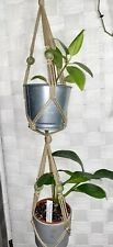 """Beige Macrame Plant Hanger 2 Tier Approx 45"""" Long Holds Up to two 4"""" Pots"""