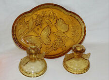 Antique ART DECO AMBER PRESSED GLASS DRESSING TABLE SET BUTTERFLY TRAYwith Candl