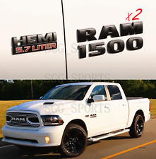 4PCS SET MATTE BLACK RAM 1500 HEMI 5.7 LITER EMBLEM BADGE 3D LOGO NAMEPLATE