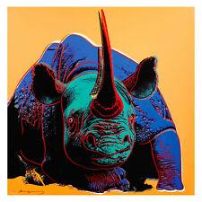 Black Rhinoceros by Andy Warhol 54cm x 54cm High Quality Art Print