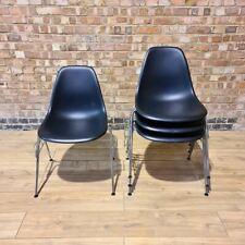 Black on Black Set (4) Plastic Vitra Original Eames DSS Stacking Side Chair