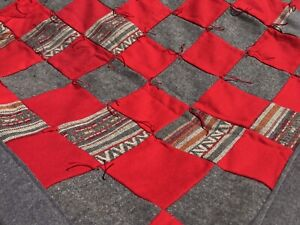 """VTG Lap Quilt WOOL Red Gray Handmade 34""""x52"""" Patchwork Bright"""