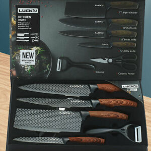6 pieces Kitchen Knife Set Everich Chef Knives Stainless Steel Nonstick Scissor