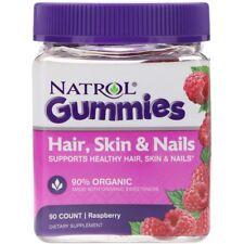 Cabello, Piel y uñas, 90 Gomitas. sabor Frambuesa 90% orgánico-Natrol