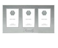 Family Photo Frame Silver Glitter Triple Picture Home Decor