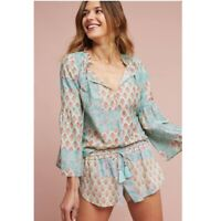 Lilka Anthropologie Sweetest Dreams Blue Floral Bell Sleeve Peasant Top Blouse M