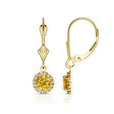 1.25CTW Round Halo Citrine Drop Dangle Leverback Earrings 14K Yellow Gold