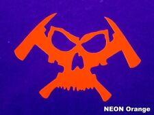 """Feuerwehr - Helm - Aufkleber """"Skull & Hatchet"""" in NEON Orange"""