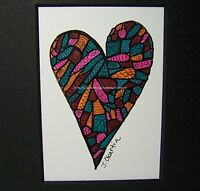 Graphic HEART Pen and Ink Art Drawing Ready to frame Signed Hand colored Print