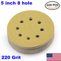 100PCS 5-Inch 8-Hole 220 Grit Dustless Hook-and-Loop Sanding Disc Sander Paper