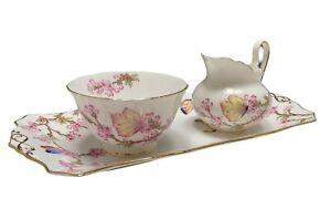 Tuscan Porcelain Butterflies Sugar Creamer Set w/ Tray Pink Floral & Butterflies