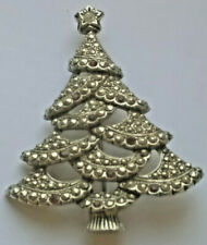 VINTAGE AVON DIAMANTE/MARCASITE SILVERTONE CHRISTMAS TREE BROOCH PIN RHINESTONE