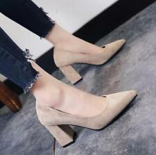 Womens Chunky High Heels Pointed Toe Faux Suede Shoes Pumps Formal Slip On S459