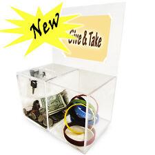 Acrylic Treat Compartment Donation Box Charity Box  With Lock AC-11
