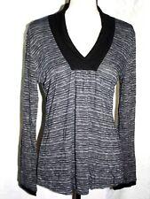 Fashion Bug Womens Size Medium Long-Sleeved Top Black Shawl Collar Neckline