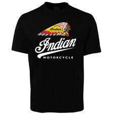 New Black Indian Motorcycle Colour Head T Shirt 100% Cotton Size S -5XL +7XL