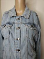 Sonoma Women's Blue Denim Jean Jacket Size Large Distressed Button Down