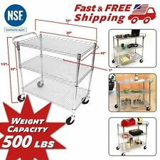 Rolling Utility Cart Tray Kitchen Food Serving Service Restaurant Home Office...