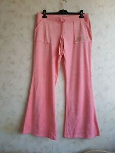 Juicy couture Womens Pink Velour Tracksuit Bottoms Joggers Trousers Pants Size L