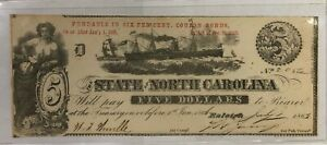 1863 $5 Five Dollar North Carolina Raleigh Note Extremely Fine