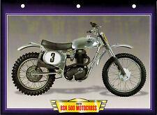 CARTE FICHE MOTO BSA 500  MOTOCROSS . 1973 .  NEUVE