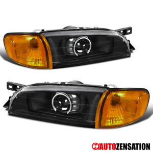For 1995-2001 Subaru Impreza Black Projector Headlights+Amber Corner Lamps Pair