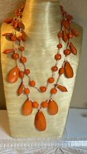 Joan Rivers Necklace Red Coral Lucite Multi Beaded Long High End Designer
