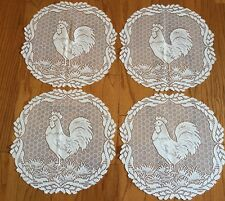 "Heritage Lace Polyester White Rooster 14"" Doilies 4 in set Cute (116)"
