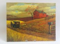 Amish Buggy Farm US Mail Painted Art Board Litho DAC NY 14x11 Vintage Lithograph