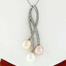 a611105c4482 14k Oro Blanco .55ctw Diamante Tres Colores Perla Grande Diseño Superpuesto