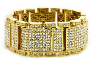 "18K GOLD PT Lab Diamond Iced 8.5"" OG Urban Micropaved Link Cuff Bracelet KDB647"