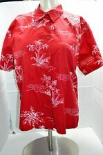 Capacity Womens Red button up shirt EUC Tropical Summer Palm Trees Lg
