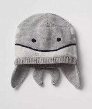 Nwt Baby Boy Gap Heather Gray Whale Beanie Hat %100 Cotton 0-6 Month