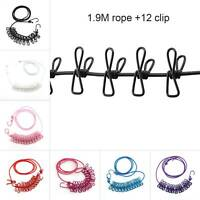 Clothes line Washing Airer Clothes Travel Laundry Rope safety 12 Clip pcs