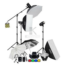 3x Godox 600W Studio Flash Light Strobe 70x100cm Softbox 2.8m Stand Boom Arm Kit