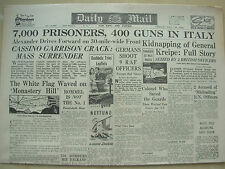 DAILY MAIL WWII NEWSPAPER MAY 19th 1944 7,000 PRISONERS 400 GUNS CAPTURED ITALY